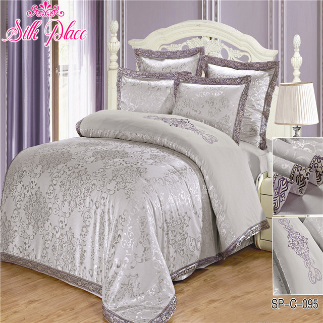 """Silk Place"" Quality Bedding Set Home Textile Europe Size 6pcs Satin Jacquard Duvet Cover Bed Sheet Pillowcases Fashion Bedding"