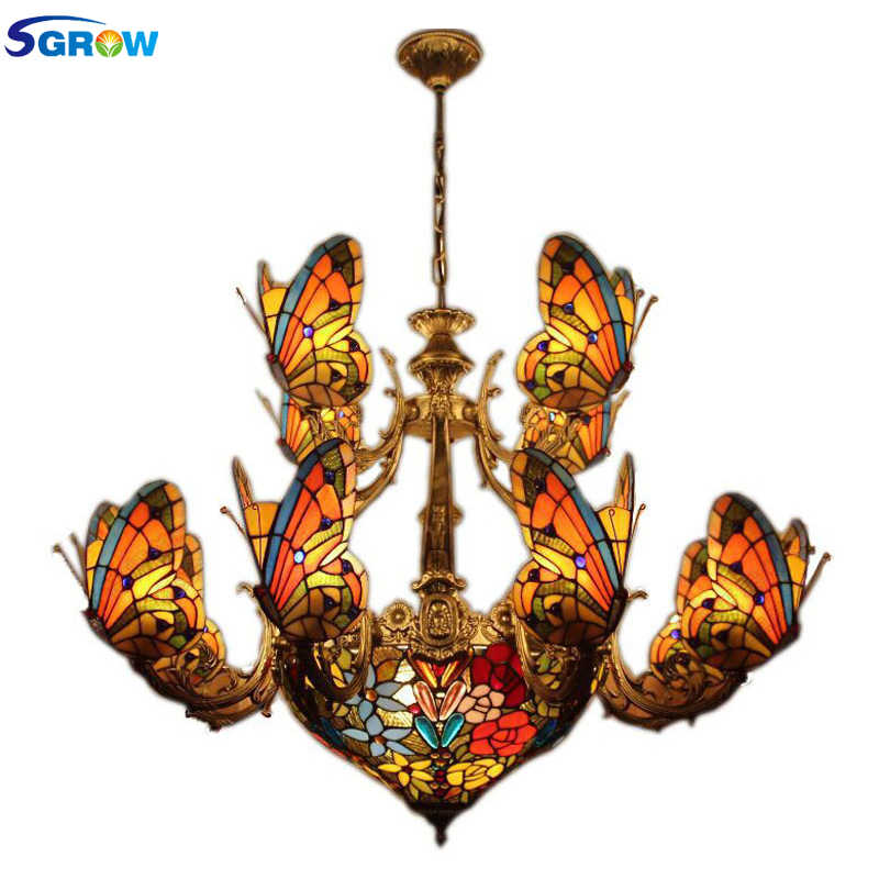 SGROW Art Deco Hand-made Glass Butterfly Lampshade Lights Fixtures for Living Room Bedroom Modern Butterfly Chandeliers Led Lamp