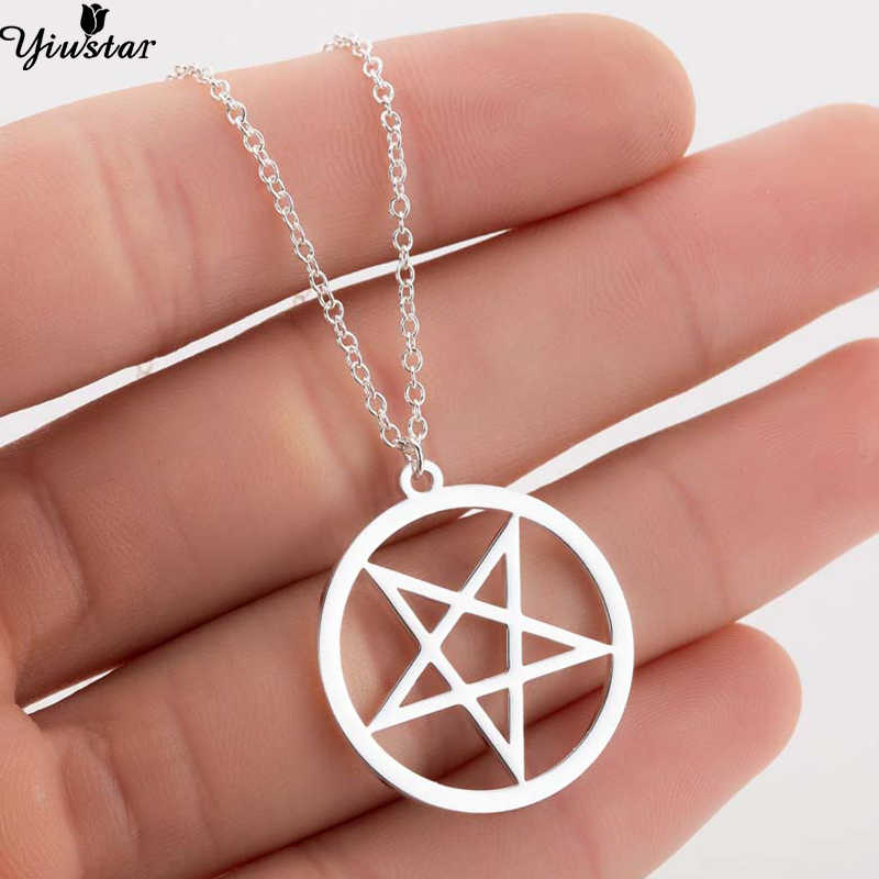 Yiustar Women Necklace Devil's Trap Pentagram Pentacle Vintage Retro Antique Silver Pendant Movie Jewelry Everyday Jewellry Gift