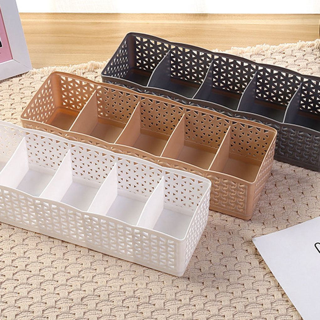 5 Grids Wardrobe Storage Box Basket Organizer Women Men Socks Bra Underwear Storage Box PP Container Organizer