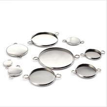 20pcs Stainless Steel Bracelet Earring Connector Settings Cabochon Base Bezel Trays Blank Fit 6-30mm Glass Cabochons Cameo DIY 40pcs lot stainless steel blank earring base 6 8 mm cabochon cameo settings bezel tray diy jewelry making