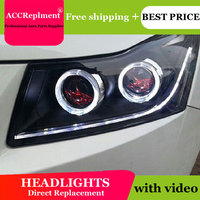 Car Styling for Chevrolet Cruze 2009 2014 LED Headlights Signal Angel Eye DRL Lens Double Beam H7 HID Xenon bi xenon lens