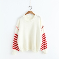 New Hit Color Women Autumn Sweater Preppy Style Girl Striped Pullover Long Sleeve All Match Sweet