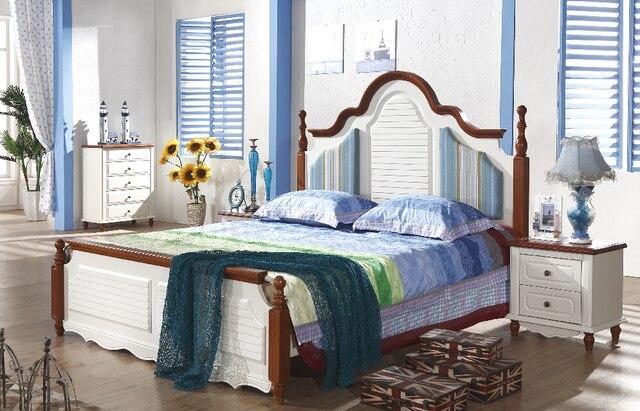 1 bed 2 bedsidedresser mirrorwardrobe white rubber wood part – Mediterranean Style Bedroom Furniture