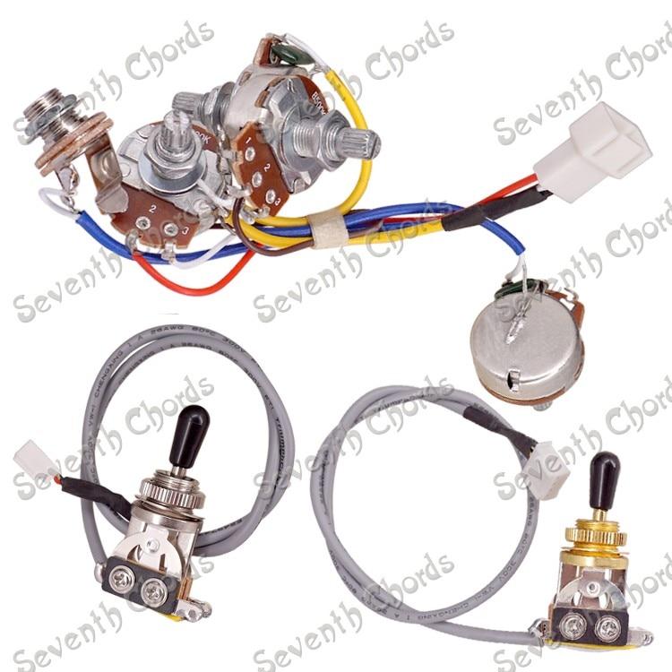 a set plug in type lp electric guitar wiring harness prewired 2 volume 2 tone 4 pcs 500k big. Black Bedroom Furniture Sets. Home Design Ideas