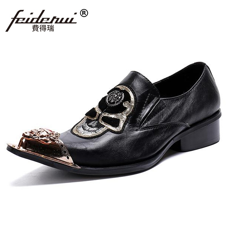 Plus Size Italian Designer Pointed Toe Man Formal Dress Footwear Genuine Leather Slip on Metal Trim Men's Skull Punk Shoes SL284 plus frill trim pleated dress