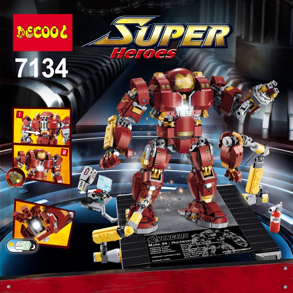 IN STOCK Decool 7134 1363 Pcs Super Heroes Series Light Bricks The Hulkbuster Ultron Edition Model Toys Compatible 76105 шредер office kit s240