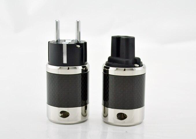 Pair Hi-end Carbon Fiber Rhodium Plated AC Power Cable IEC Female Connector Hifi 2 Pins EU EUR Schuko Power Plug Socket