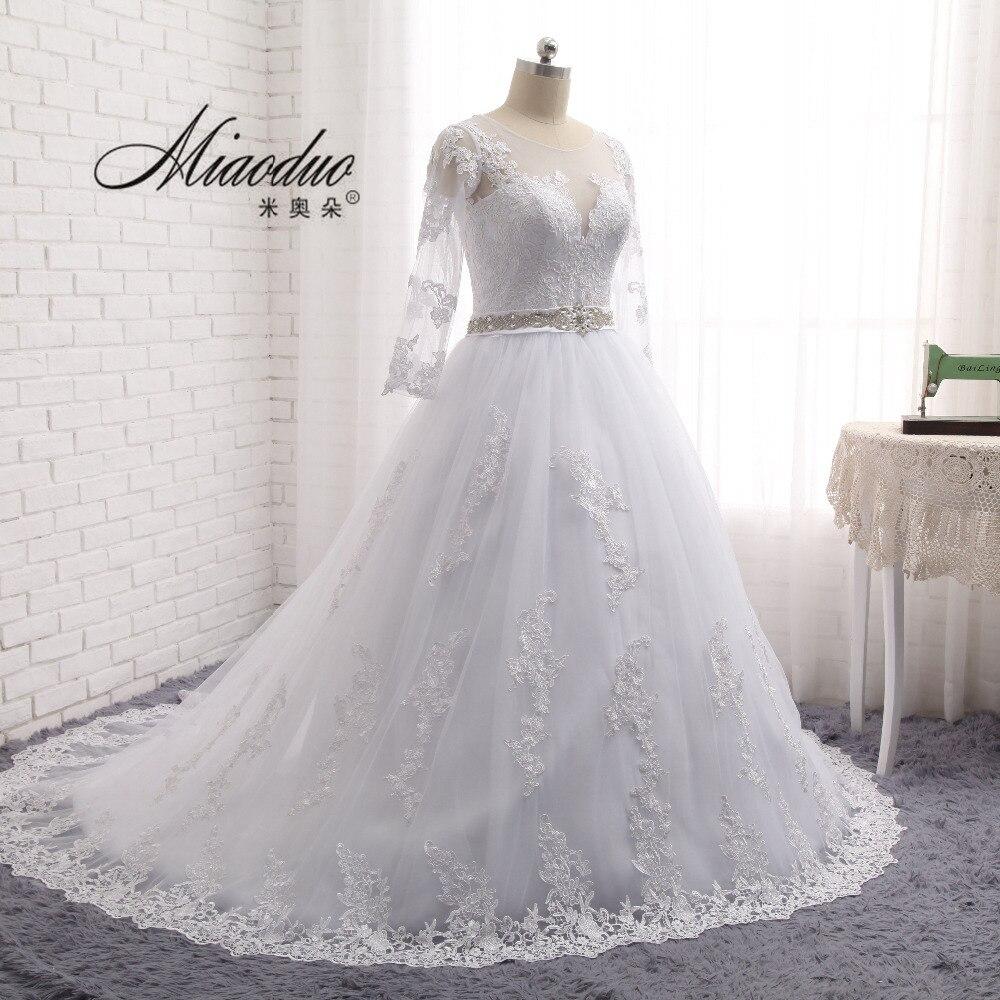 Vestido de noiva Vintage Mangas Largas Vestidos de Boda Escarpado Tulle Volver A