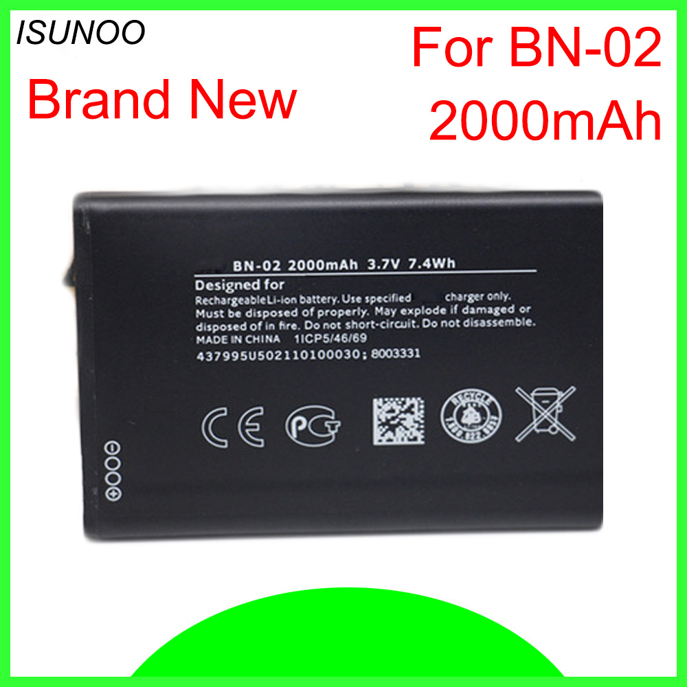 ISUNOO 5pcs/lot Bateria <font><b>BN02</b></font> BN-02 2000mAh Replacement Battery For Nokia XL/XL 4G RM-1061 RM-1030 RM-1042 For BYD BN-02 image