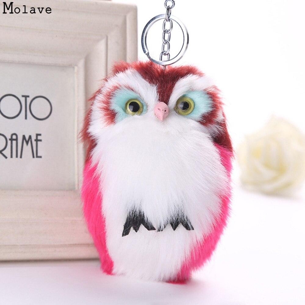 Cute Fluffy Owl Keychain & Pendant Women Key Ring Holder Faux Bunny Rabbit Fur Pompoms Key Chains For Handbag Plush Keyring se22