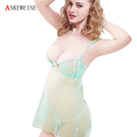 Light Green Glass Tulle Lace Transparent Embroidery Steel Short Skirt Sleepwear The Temptation To Set
