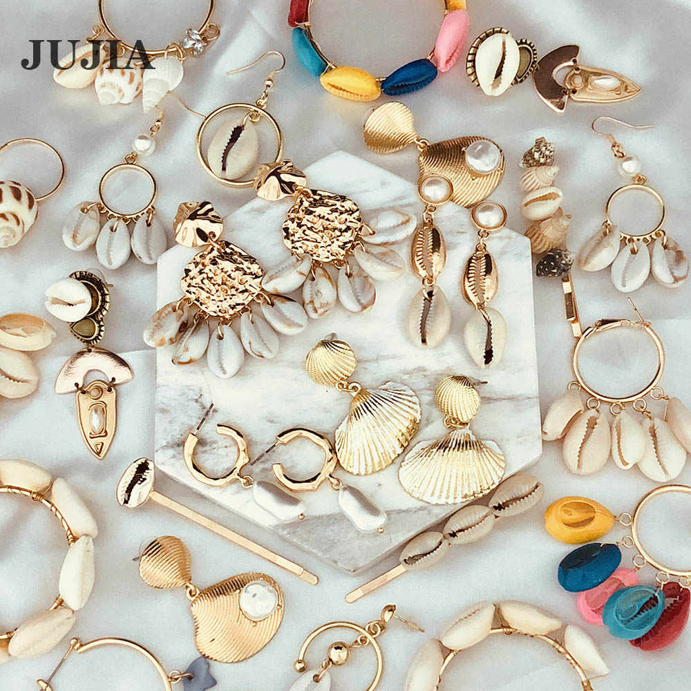 JUJIA Fashion Women Simple Pearl Drop Earrings Summer Boho Jewelry Handmade Natural Sea Shell Earrings For Girls 2019