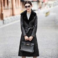 YOLANFAIRY Geniune кожа овчины пуховик женщина норки воротник куртки зимние плюс Размеры 5XL Jaqueta de couro MF097