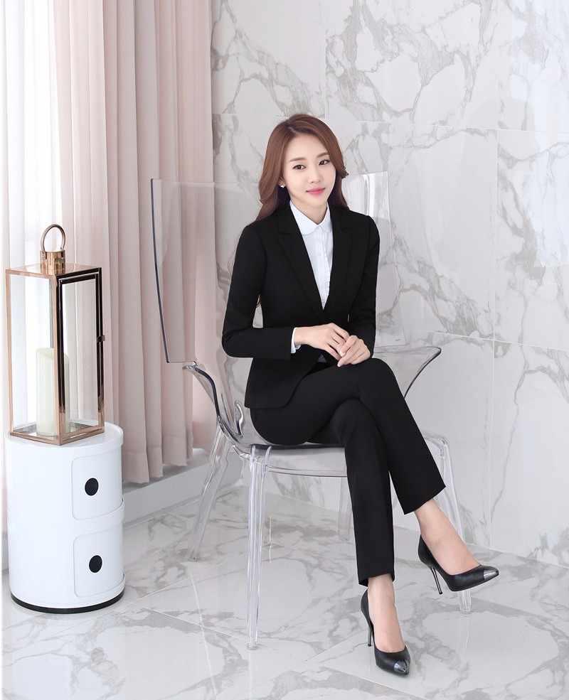 25872824e0f ... Formal Female Black Blazer Women Jackets Elegant Ladies Office Uniform  Style Work Wear Professional Business Clothes ...