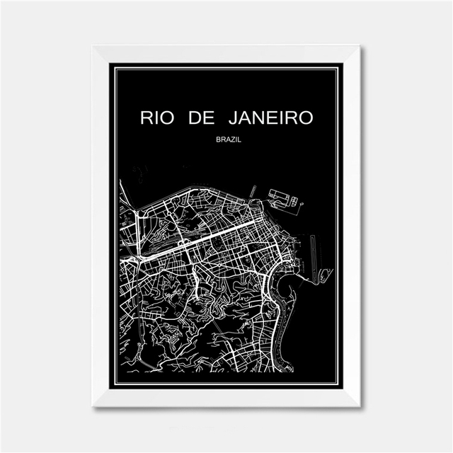 Rio de Janeiro Brazil CITY World map poster abstract Coated paper