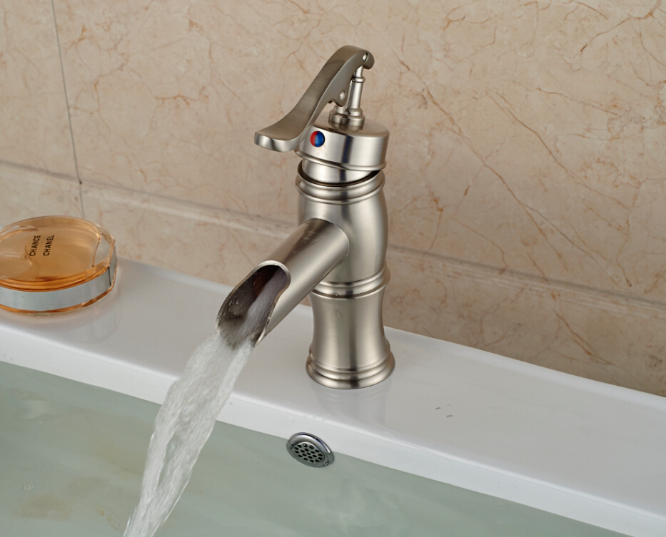Brushed Nickel Faucet Waterfall Bathroom Spout Sink One