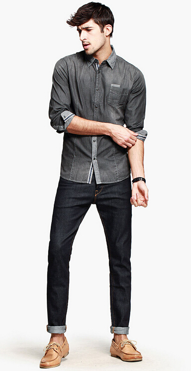 Real vintage snug denim shirt men fashion imported clothing jeans shirt men  elegant grey water washed cowboy shirt,in Dress Shirts from Men\u0027s Clothing