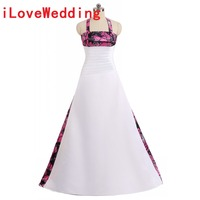 ILoveWedding Ball Gown Rosa Red Camo Wedding Dresses Halter Sleeveless Lace Up Camouflage Appliques Bride Bridal