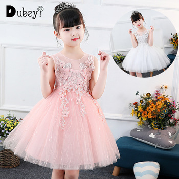 Girls Sleeveless Princess Dress Kids Frocks Clothes Vest Lace Gauze Costume for Teens Girl Children's Birthday Party Dresses
