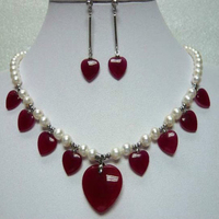 NEW 2 color ! Women's white/pink pearl&green heart necklace pendant earrings set A2A659