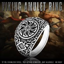 Beier 316L Stainless Steel Nose viking for men scandinavian Warrior Slavic Sonnenrad  Runic Amulet Ring fasion jewelry LR582
