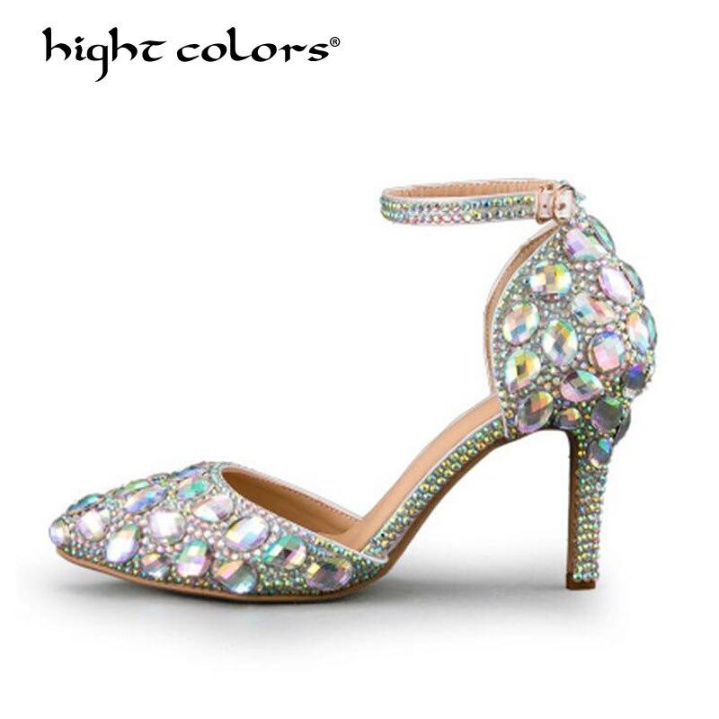 Bride à la cheville femmes pompes Sexy talons hauts chaussures femme argent strass fête de mariage été dame bal de promo soirée chaussures de mariée T-18