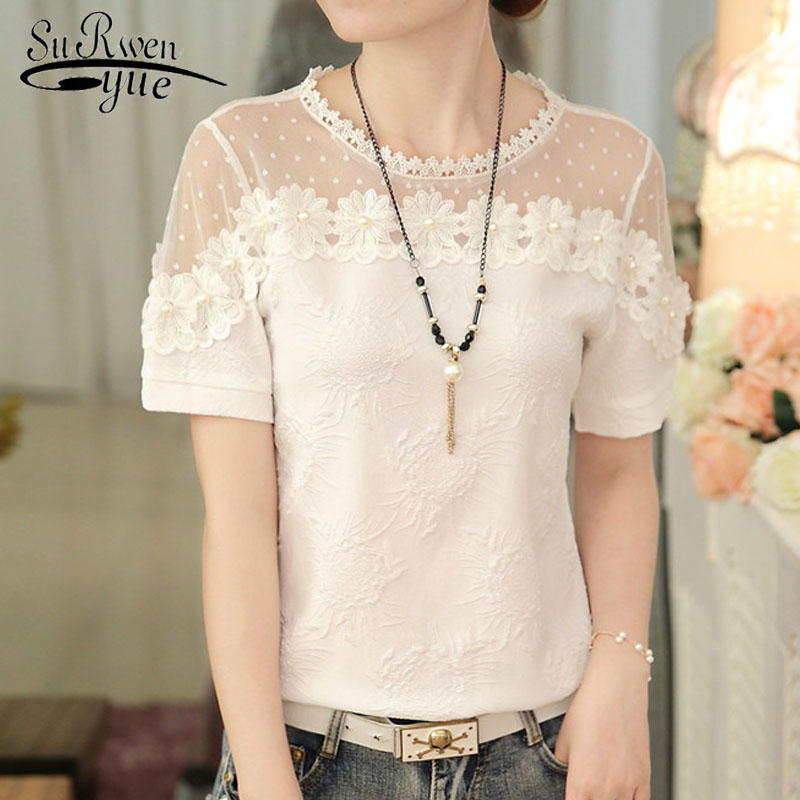 2018 fashion short sleeve women tops summer white lace women shirt blouse O-neck beading hollow womens clothing blusas D776 30 ...