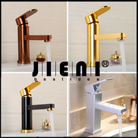 Luxury Bathroom Faucet Black Gold Plated Bathroom Faucet Rose Gold Plated Space Aluminum Basin Sink Faucet
