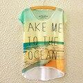 2016 New Short Sleeve Irregular Beach T-Shirt Female TAKE ME TO THE OCEAN Letter Print T Shirt Women 3D Summer Tee Shirt C2362