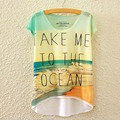 2016 Novo T-Shirt de Manga Curta Irregular Praia Feminino ME LEVAR PARA O OCEANO Carta Imprimir Camiseta Mulheres 3D Camiseta Verão C2362