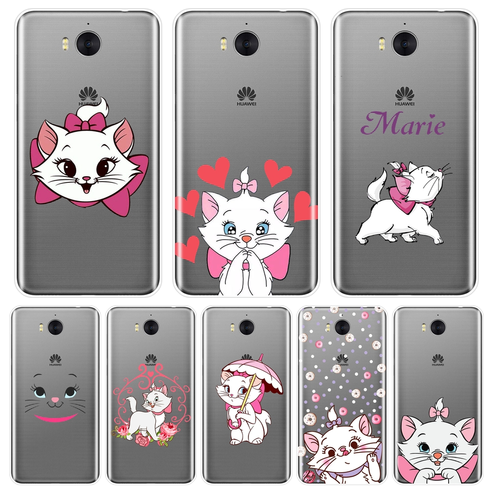 TPU Phone <font><b>Case</b></font> For <font><b>Huawei</b></font> Y3 Y5 Y6 <font><b>Y7</b></font> 2017 II Pro Soft Silicone Marie <font><b>Cat</b></font> Pink Back Cover For <font><b>Huawei</b></font> Y5 Y6 <font><b>Y7</b></font> Prime 2018 Y9 <font><b>2019</b></font> image