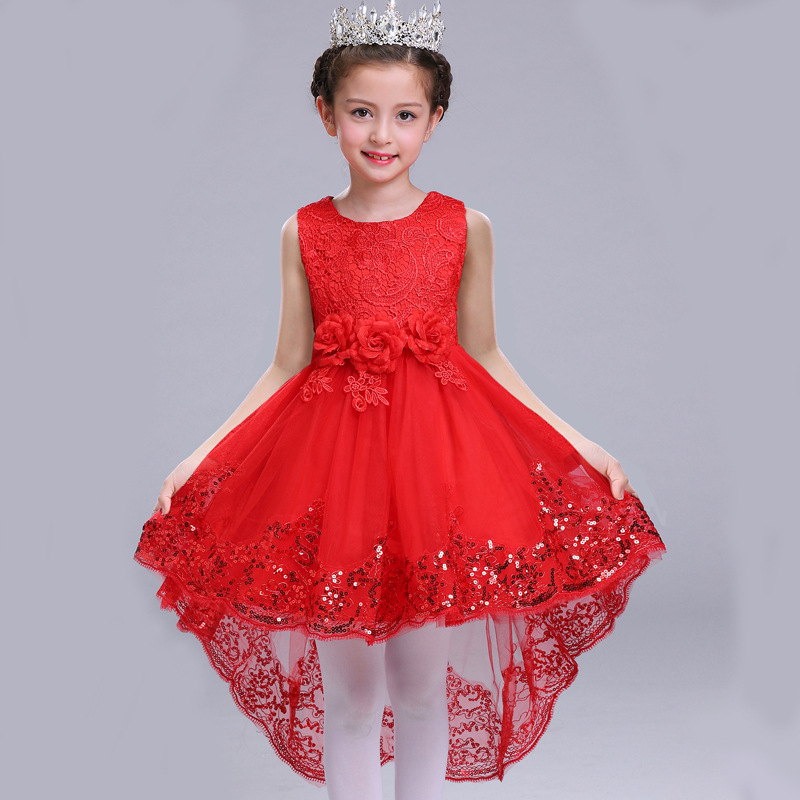 Girl New Year Dress Children Christmas Clothing Girls Embroidery Sequins Dress Monsoon Kids High Low Dress for Party and Wedding hello bobo girls dress collection of sports in the new year is suitable for 2 to 6 years old children s clothing