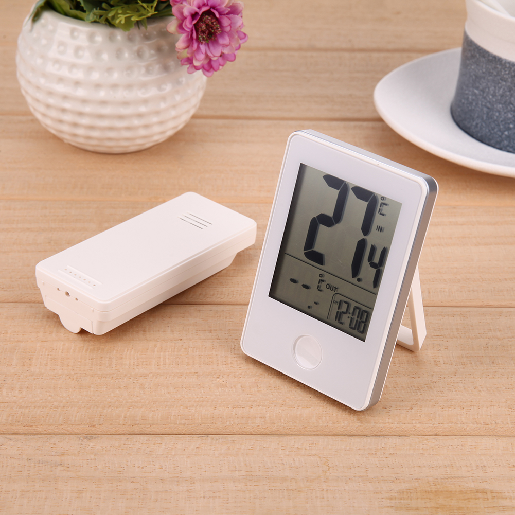 Numérique Sans Fil Thermomètre Électronique Numérique Thermomètre Horloge Température Mesure avec Émetteur Intérieur Extérieur