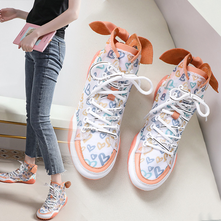 2019 Autumn Vulcanize Female Fashion Sneakers Lace Up Soft High Leisure Footwears Love Breathable Mesh Women Casual Shoes 46