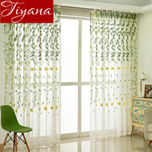 Green Willow Curtains Embroidered Voile Window Living Room Balcony Curtains Tulle Fabrics Rustic Rideaux Cortinas T