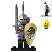 DR.TONG 20pcs/lot XH517 Dragon Knight with Heavy Armor Super Heroes Medieval Rome Knight Building Blocks Toys Children Gifts