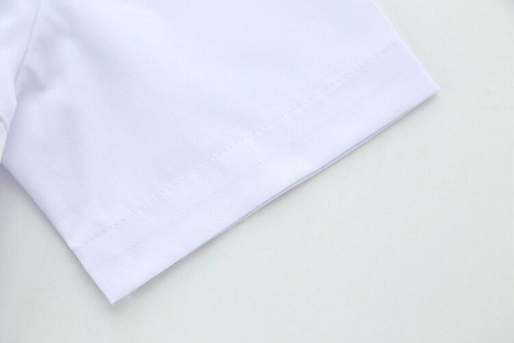 Niedliche Mädchen Japanische Schuluniform Mädchen JK Weiß Bluse Brusttasche Seitlichem Reißverschluss Peter Pan Kragen Kurzarm Hemd Tops