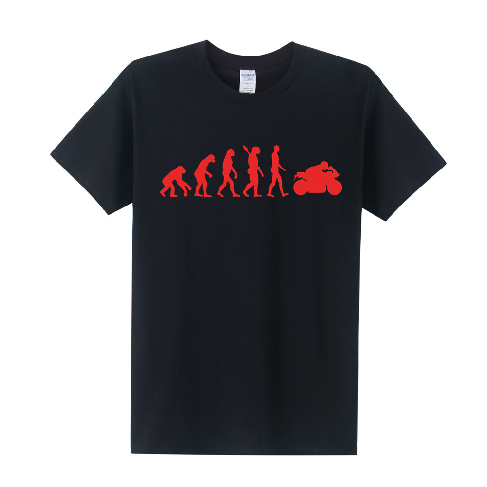New Fashion Motorcycle Ape to Evolution Men T Shirt Short Sleeve Funny Cotton Motorbike  ...