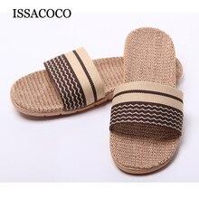 лучшая цена ISSACOCO Slippers Man's Hollow Flat Flax Slippers Indoor Non-slip EVA Linen Slippers Man's Beach Flip Flops Man Fashion Slides