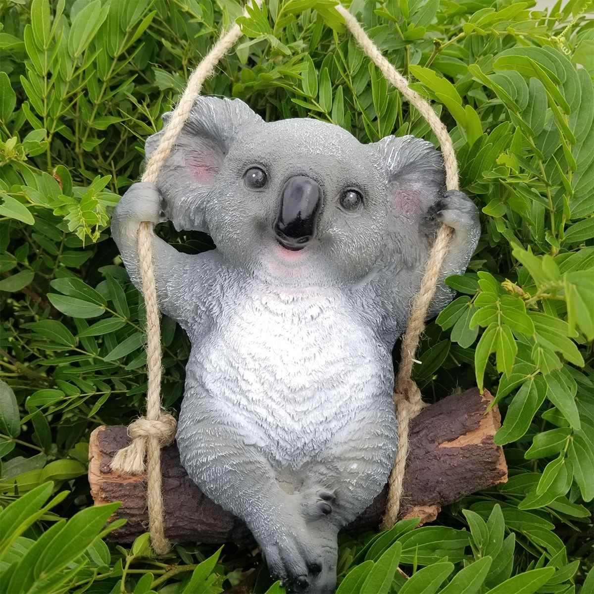 1 sztuk ogród dekoracja obejścia symulacja Koala huśtawka statua zwierząt rzeźba rzemiosło żywicy domu Ornament dekoracyjny