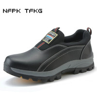 mens causal black big size breathable steel toe caps work safety shoes slip on lazy cow leather tooling low boots zapatos hombre