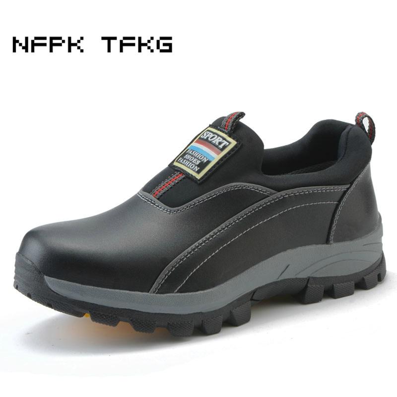 Տղամարդկանց պատճառահետևանքային սև մեծ չափի շնչող պողպատե քիթ գլխարկներ անվտանգության անվտանգության կոշիկներ սայթաքում են ծույլ ծովային կաշվե գործիքավորմամբ ցածր կոշիկներով zapatos hombre