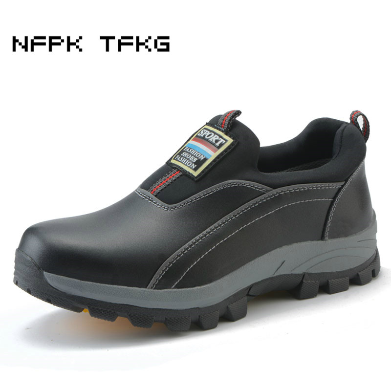 mens αιφνίδιο μαύρο μεγάλο μέγεθος αναπνέει χάλυβα toe καπάκια εργασίας ασφάλεια παπούτσια ολισθήσει σε τεμπέληδες αγελάδα δέρμα εργαλεία χαμηλές μπότες zapatos hombre
