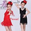 Танец одежды для девочек черный/красный дети бальные платья XXS-XXL латинской костюмы для детей кисточкой конкурс танца костюм