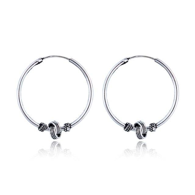 08804eb45 24mm Indian Gypsy Hoop Earrings Circle Handmade Vintage Silver Color Cool  Big Endless Earring For Women