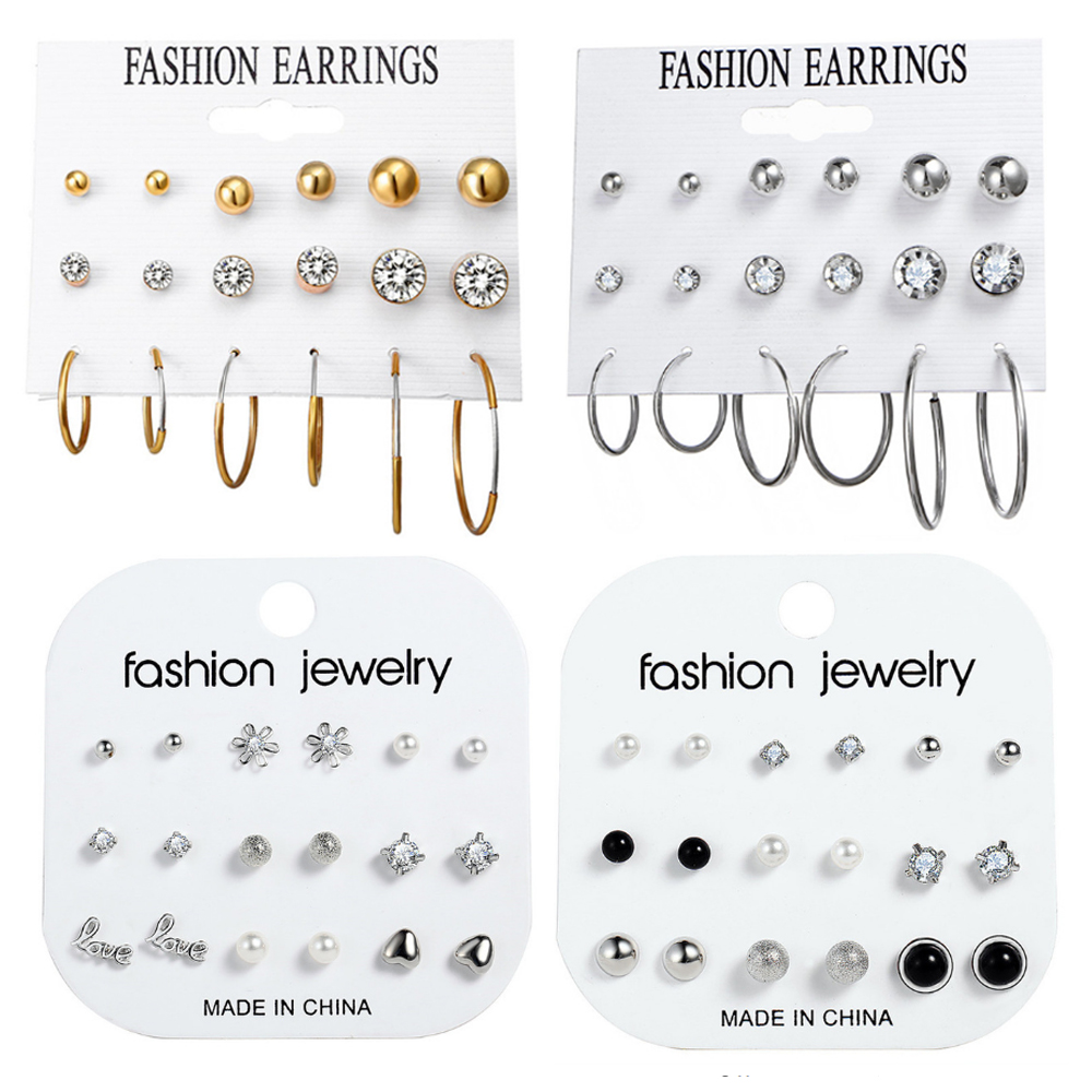 Fashion Design Crystal Beads Stud Earrings Set For Women Geometric Flower Shell Earring Statement Female Party Jewelry Gifts New