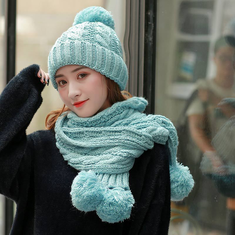 Three Pom Poms Ball Winter Hat Scarf Set For Women Kitted Winter Hats Set Thicken Solid Pink Scarf For Girls Thicken Beanies