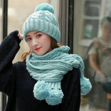 Three Pom Poms Ball Winter Hat Scarf set For Women Kitted Hats Set Thicken Solid Pink Girls Beanies