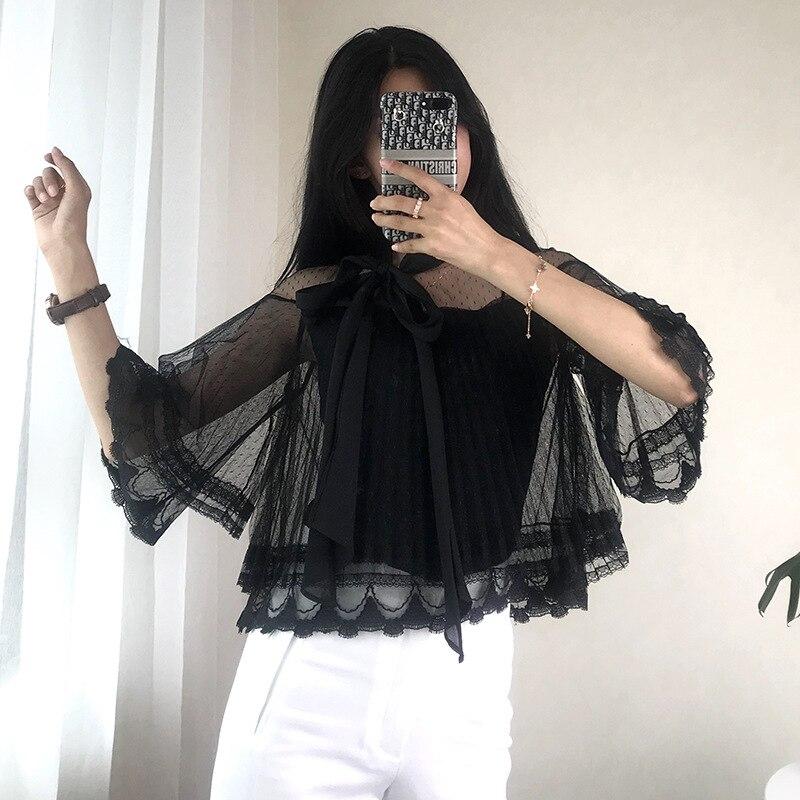 Femmes T-shirt faux deux pièces tricoté à lacets nœud maille Split t-shirts élégant volants perle bouton Top piste Slim pulls